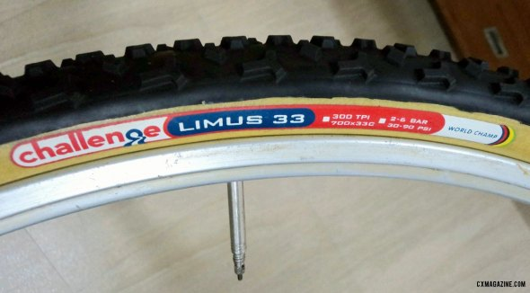 The Challenge Limus tubular tire, in 700x33c width, 300tpi casing. © Cyclocross Magazine