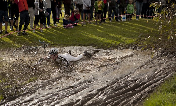 Sean Caldwell in the mud puddle by Brian Mangano