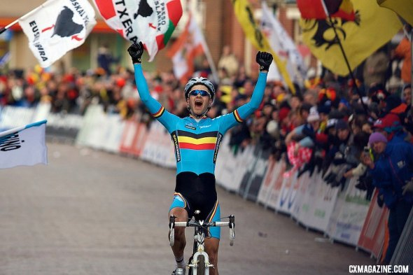 Niels Albert (Belgium) celebrates his victory in the Elite mens's race at the 2009 UCI Cyclocross World Championships. © Joe Sales