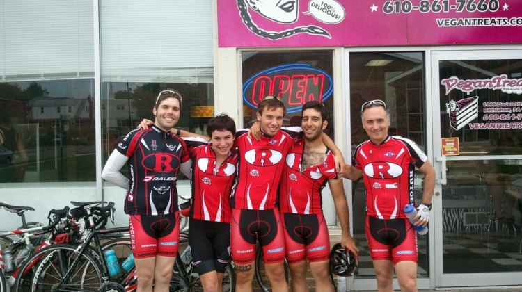 Mark (far left) and the rest of the Rutgers Cycling family on his goodbye ride in July.