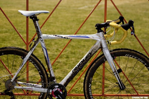 Bart Wellens' Ridley X-Night cyclocross bike as ridden during his 2011 U.S. campaign. The integrated seat mast makes for difficult traveling and is why Ridley's U.S. riders ride the X-Fire. © Cyclocross Magazine