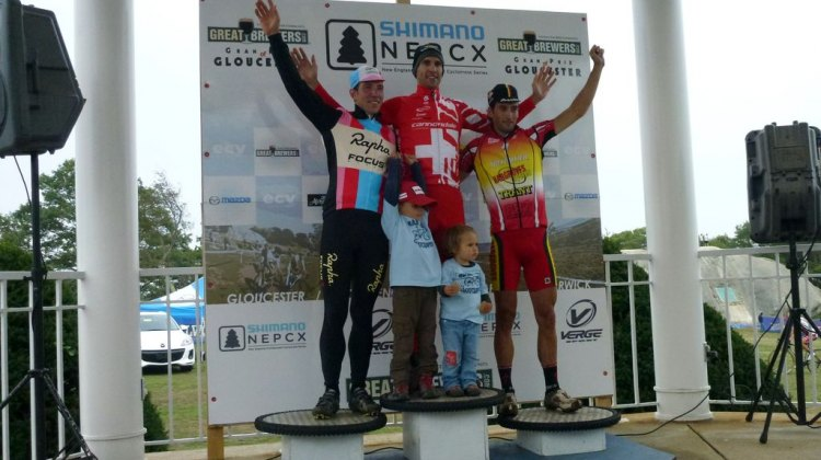Powers, Heule (and his kids) and Field on the podium at Gloucester for Day 1.