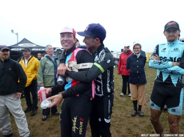 Ex-teammates but still friends, Johnson congratulates Powers post-race. Cyclocross Magazine