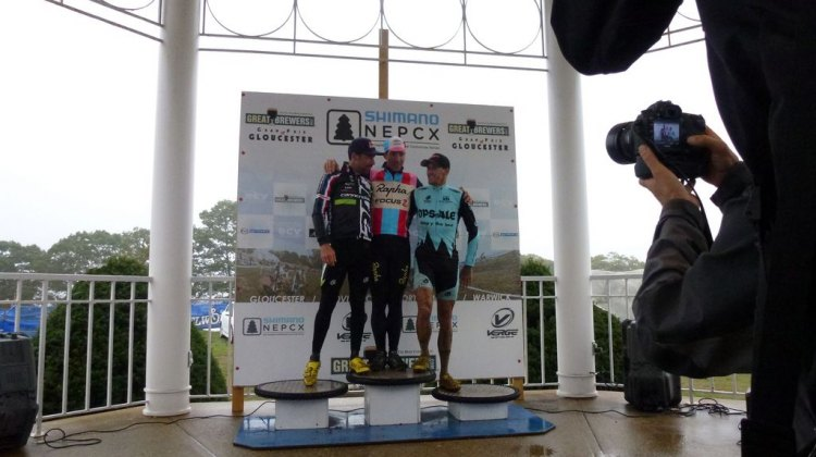 Johnson, Powers and Berden crowd onto the top spot on the podium at Gloucester Day 2. Cyclocross Magazine