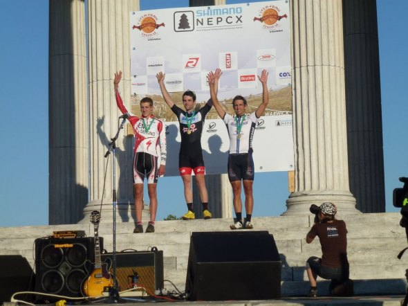 McNeely, Lindine and Schempf on the podium at Providence Day 1. Cyclocross Magazine