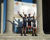Luke Keough, Justin Lindine, and Derek St. John on the podium at Providence Day 2.