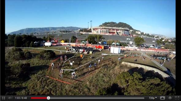 Aerial footage of Bay Area Super Prestige Cyclocross Race #1, Candlestick Park by Jason Anderson
