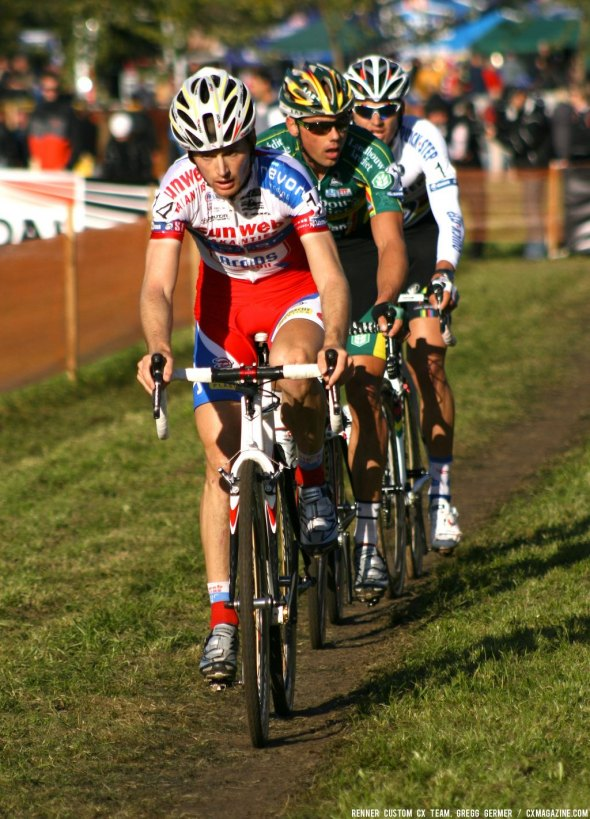 The three leaders in the mens race near the finish. © Renner Custom CX Team, Gregg Germer