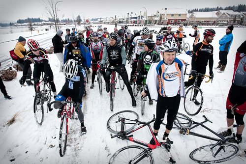 [The Master Men 40+ get ready to start the Inland Northwest Cyclocross Series Finals in Coeur d'Alene, Idaho with perhaps a few expressions of anxiety. ©www.cnelson.smugmug.com
