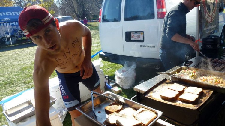 Jeremy Durrin served up sausages at CSI to try to raise funds for his trip. Cyclocross Magazine