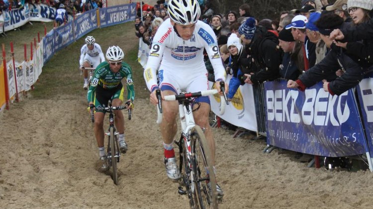 Pauwels leads Nys through the sand at the 2011 Koksijde World Cup. © Bart Hazen