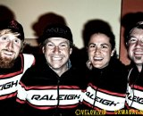 Team Raleigh riders Craig Etheridge & Jenni Gaertner posing with Team manager Jonny Sundt & Sean Burkey from Raleigh USA. © VeloVivid Photography