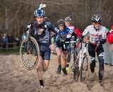 Sam O'Keefe, Luke Haley lead the group of four, with Jordan Cullen in the back in Bredene 2011. ©TomRobertsonPhoto.com