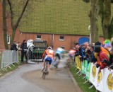 U23 podium rounding the bend. Tom Simpson