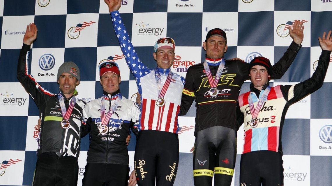 The 2012 National Championship Podium: 1) Powers 2) Trebon 3) Page 4) Macdonald 5) Johnson ©Tim Westmore