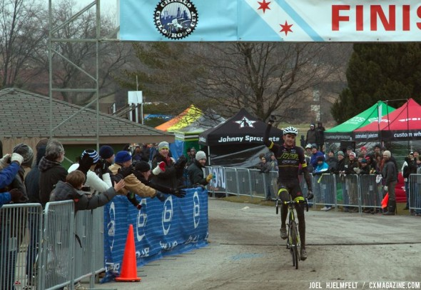 Ryan Trebon celebrates victory on day one. Joel Hjelmfelt