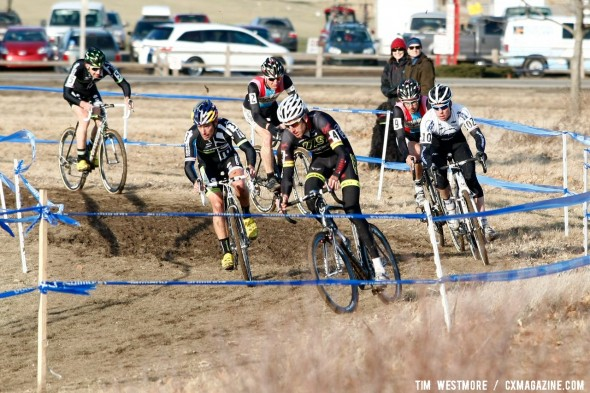 The lead group mid-way through the race is headed by Ryan Trebon (LTS/Felt) - 2012 Cyclocross National Championships, Elite Men - t©Tim Westmore