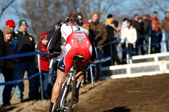 Cody Kaiser (California Giant Cycling) attacks the barriers, Men U23, 2012 Cyclocross National Championships. ©Tim Westmore