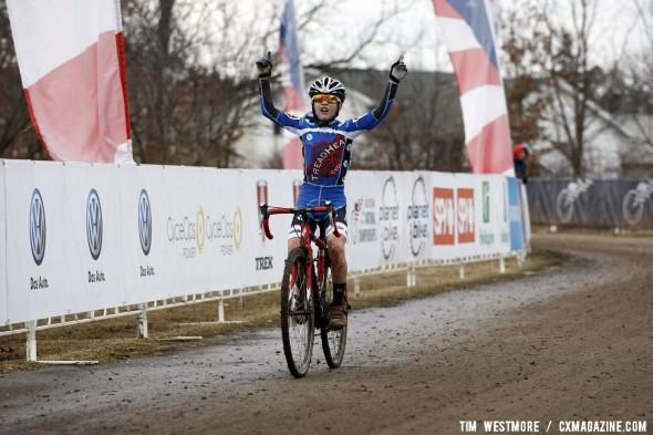 Andrew Schmidt wins the Junior Men 10-12 2012 Cyclocross National Championships. © Tim Westmore