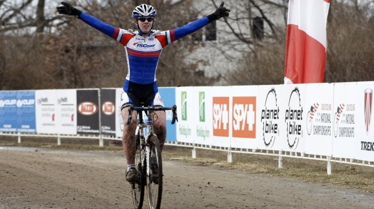 Corrie Osborne takes the 17-18 junior women's title, after winning 15-16 last year. 2012 Cyclocross National Championships. © Tim Westmore
