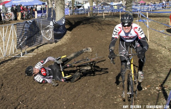 Edwin Bull of Van Dessel fell victim to the rough mud and ruts during the Masters Men 40-44 race. ©Amy Dykema