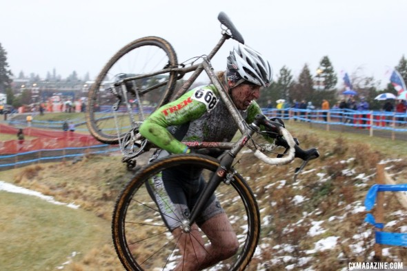 Steve Tilford on takes winter cycling clothing seriously, but never wears tights or knee warmers when racing. © Cyclocross Magazine