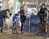 Teammates Brandon Dwight and Pete Webber took one-two in the Masters 40-44. ©Cyclocross Magazine