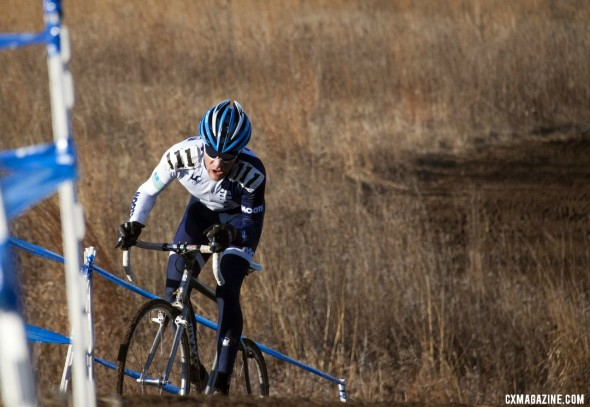 Jon Cariveau pilots his Moots to a strong second place in his first year as a 45-49 racer. © Cyclocross Magazine