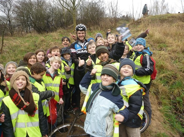 Australian cyclocrosser Lewis Rattray surrounded by his new fans in Belgium.