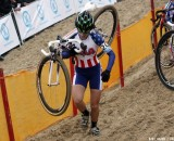 Kaitie Antonneau trudges through the sand at Worlds. © Bart Hazen