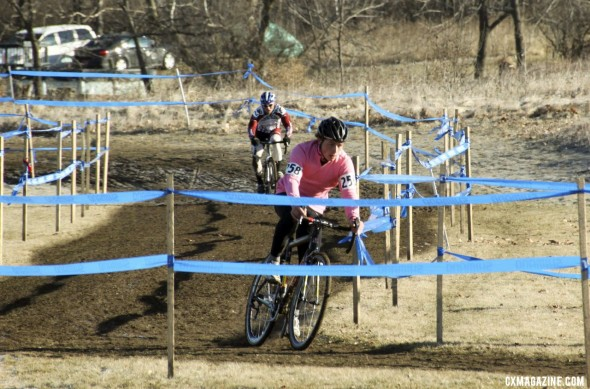 Jeff Bahnson leading Hurst in the collegiate men D2 race at the 2012 Cyclocross National Championships. © Cyclocross Magazine