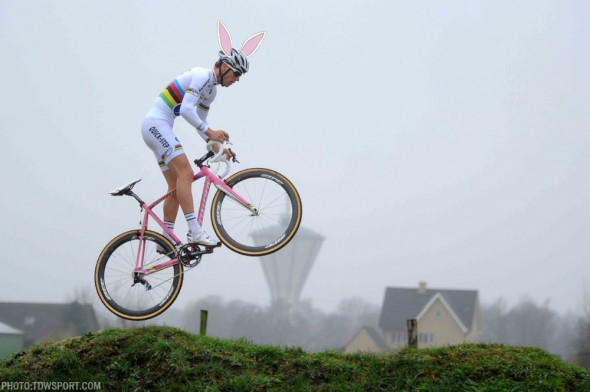 Zdenek Stybar and his pink Specialized Crux ... we're wondering if he's heading out to go hide eggs for an Easter Egg Hunt. ©Specialized