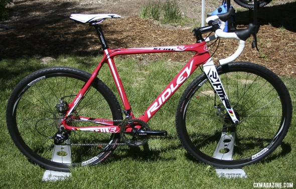 "The 2013 Ridley X-Fire cross bike in ""Hot Tomale"" red and mechnical disc brakes.  ©Cyclocross Magazine"