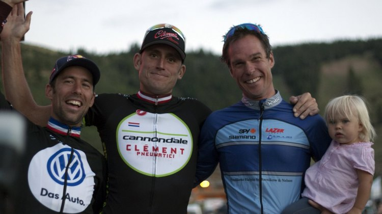 The Men's podium featured three three-time national champions. 2012 Raleigh Midsummer Night Cyclocross Race. @Cyclocross Magazine