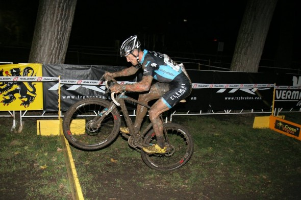 Ben Berden hops the barriers on the last lap to win the Gateway Cross Cup 2012. ©Matt James