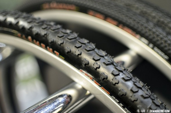 The Clement MXP cyclocross tire boasts a bigger and more aggressive side knob compared to the Grifo or Typhoon. ©Cyclocross Magazine