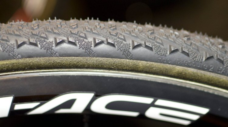Hutchinson's new Mamba cyclocross tubular tire has a pronounced side knob for cornering. ©Cyclocross Magazine