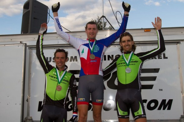 Johnson, Bazin and Driscoll on the podium at Green Mountain 2012. By Todd Prekaski
