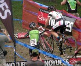 Antonneau and Day take different approaches to the stairs at Providence. © Cyclocross Magazine