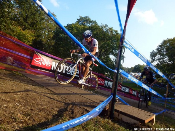 Powers hops up the stairs and to the win at Providence Day 1. Cyclocross Magazine