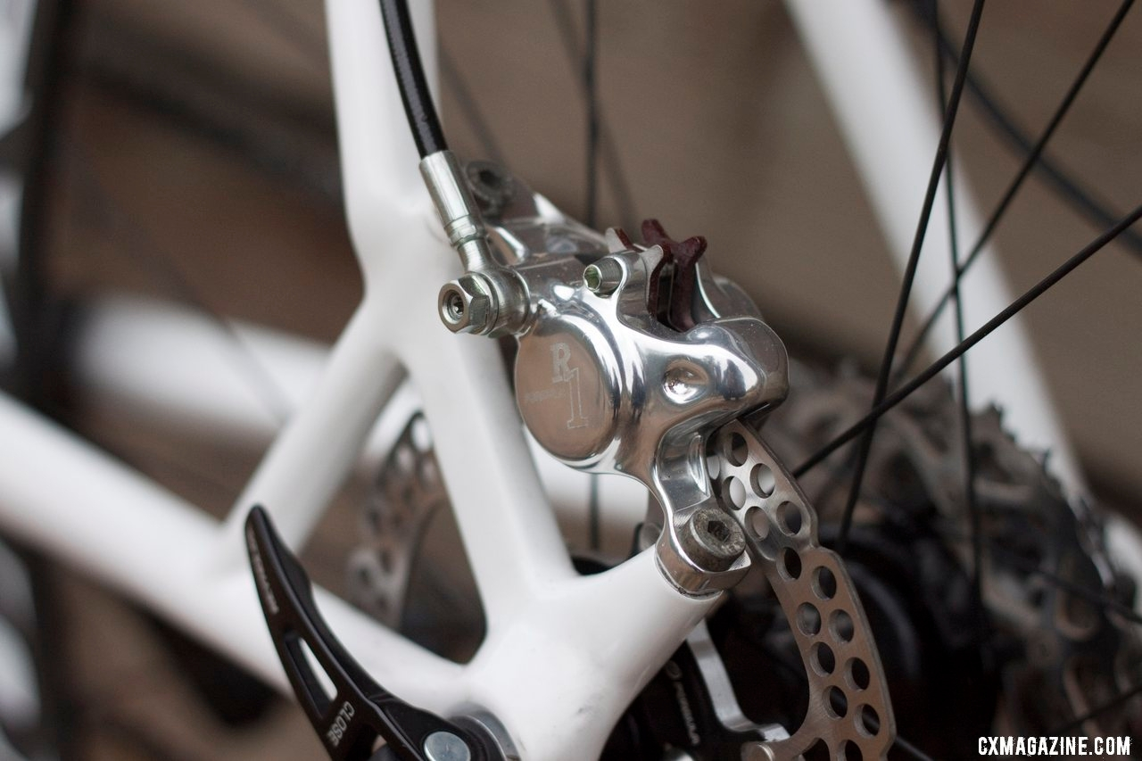 Seatstay Post Mount disc brakes on the Hakkalugi Disc keep the brake further from the heel and allow easier access. ©Cyclocross Magazine