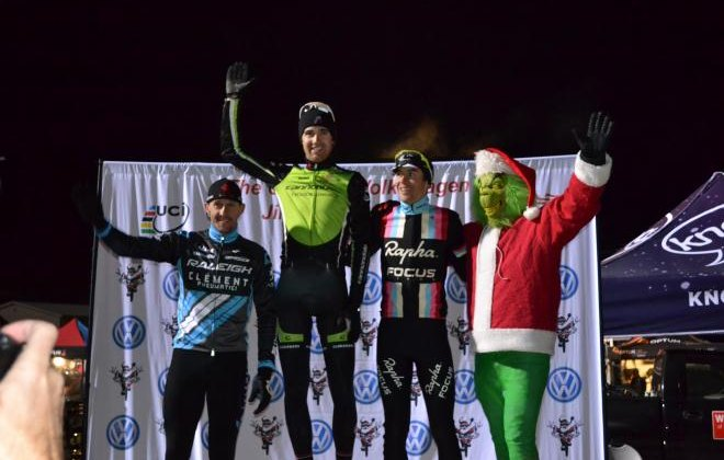 Berden, Driscoll, McDonald and the Grinch top the podium Day 1 of Jingle Cross. © Elisabeth Reinkordt