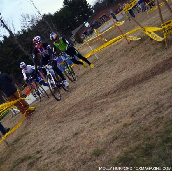 Good thing Tim Johnson had a pit bike and not just wheels on Day 2 of Bay State weekend. © Cyclocross Magazine
