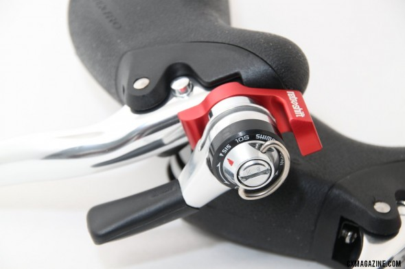 Two nice options on this model: brake lever release button for easy wheel removal and more pad clearance on muddy days, and a friction mode for better shifting with mud or a pit wheel. © Cyclocross Magazine