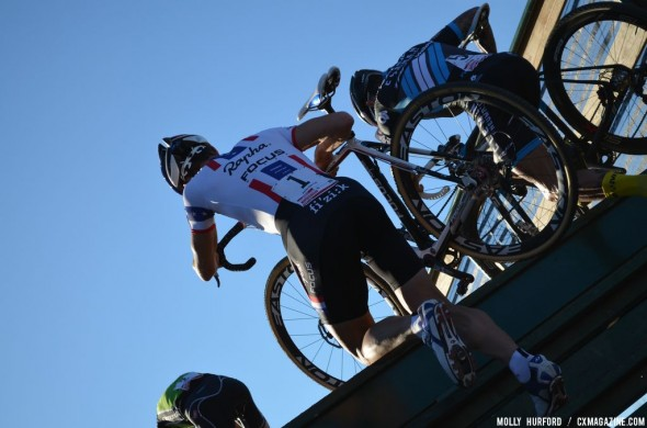 Powers with Berden and Trebon on the flyover. © Cyclocross Magazine