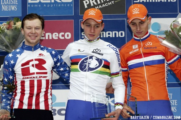 The Junior Mens Podium: Mathieu van der Poel, Logan Owen, and Martijn Budding © Bart Hazen