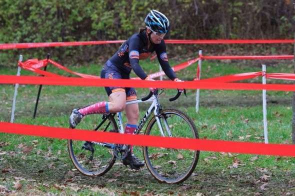 Lindsay Rodkey shows off cool socks at OVCX Brookside. © Kent Baumgardt