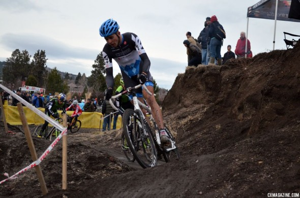 Summerhill leads in a tricky technical section.  Cyclocross Magazine