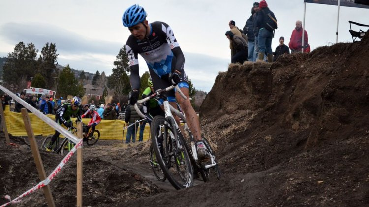 Summerhill leads in a tricky technical section. © Cyclocross Magazine