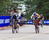 The photo finish: van Gilder takes it by a quarter of a wheel's length. © Todd Prekaski